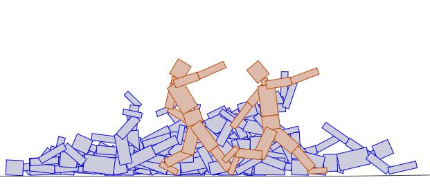 HTML5 Genetic Algorithm Biped Walkers